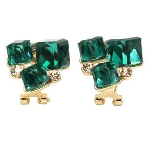 Green square crystal golden earrings